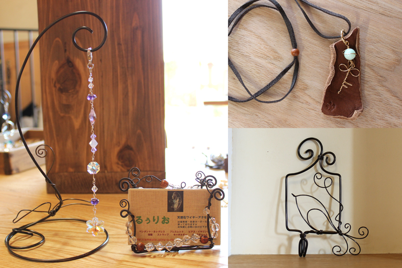 *ワークショップの作品例(サンキャッチャー、革とワイヤーアクセサリー、壁掛け)