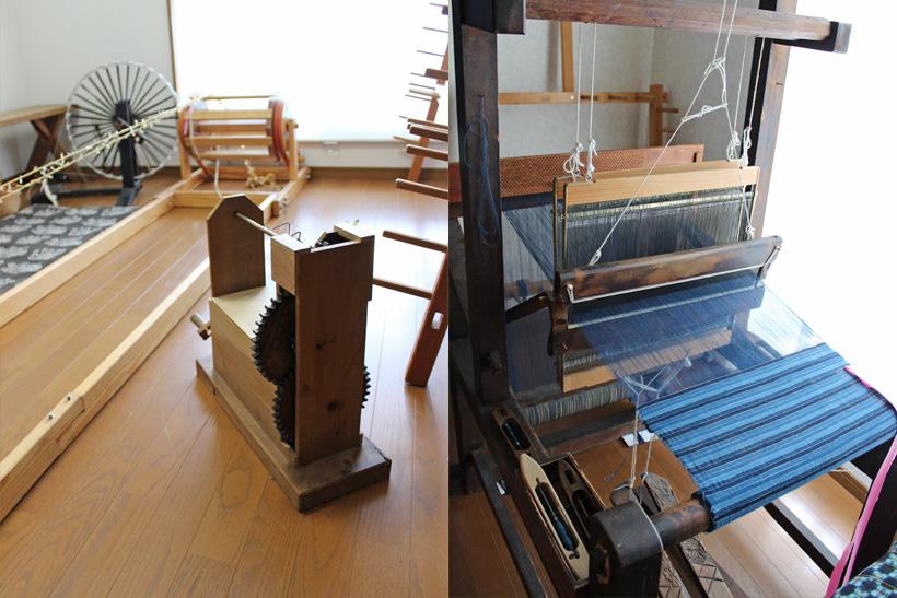 *左:糸を染め分けるために紐でくくる作業 右:昔ながらの高機(たかばた)という足踏み式の手織機で織る