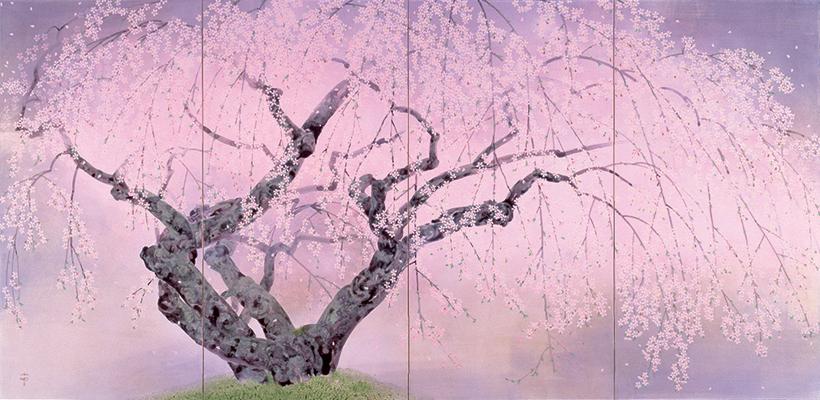 *中島 千波 《夢殿の枝垂桜》 1992年、株式会社ヤマタネ蔵