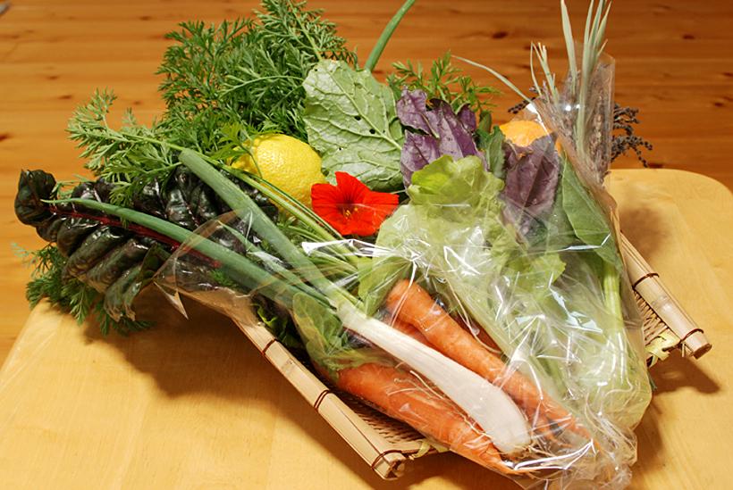 *小林農園で採れた旬の野菜を使った「野菜ブーケ」。その時々で野菜は変わります。お買い求めはお電話にて。