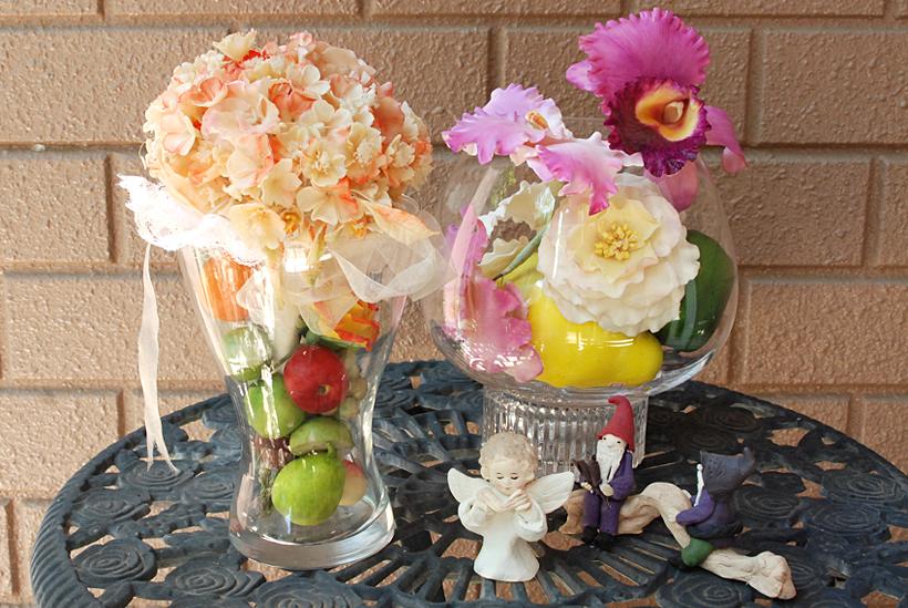 *花や果物はもちろん、置物も手づくり。季節にあわせてアレンジを変えて楽しめる。