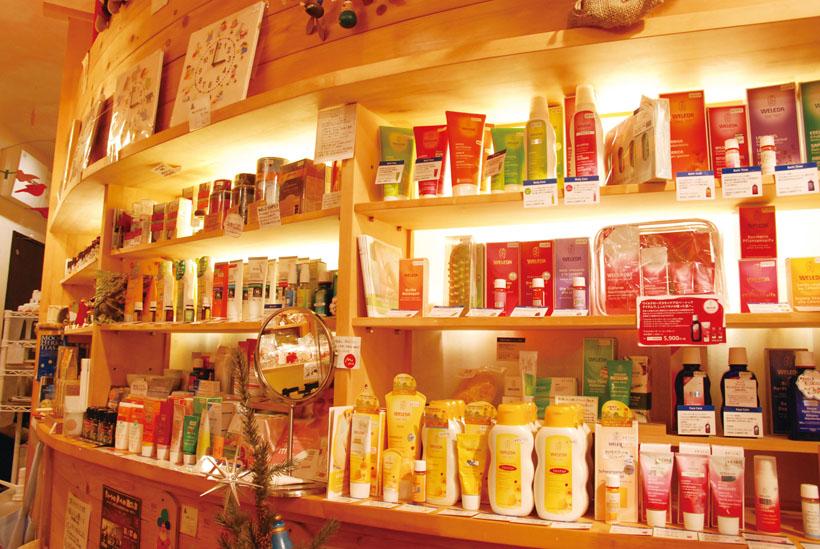 *オーガニック化粧水やハンドクリームなどママにも 優しい商品が揃っている
