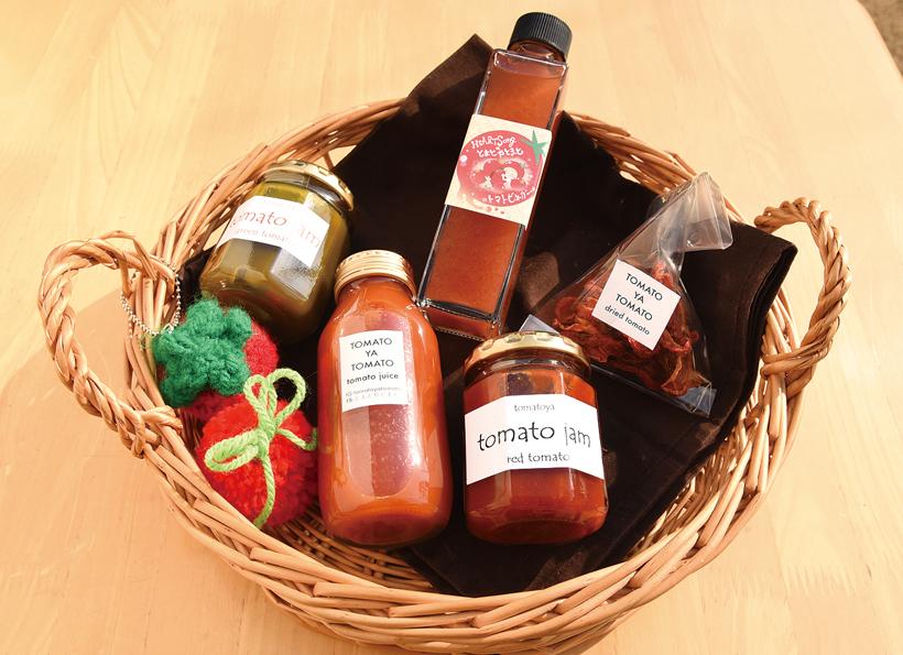 *ジャム、ジュース、ドライトマト、ビネガー など収穫されたトマトで作った加工品