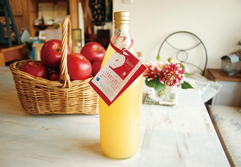 *りんご園で取れたりんごで作るジュース