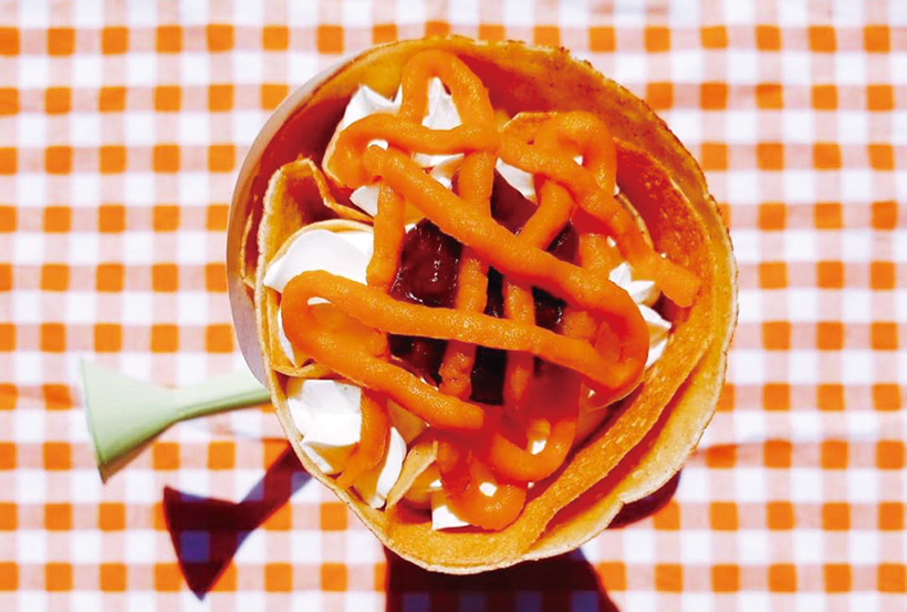 *昭和村産のかぼちゃを使用した「かぼちゃ&小倉&生クリーム」