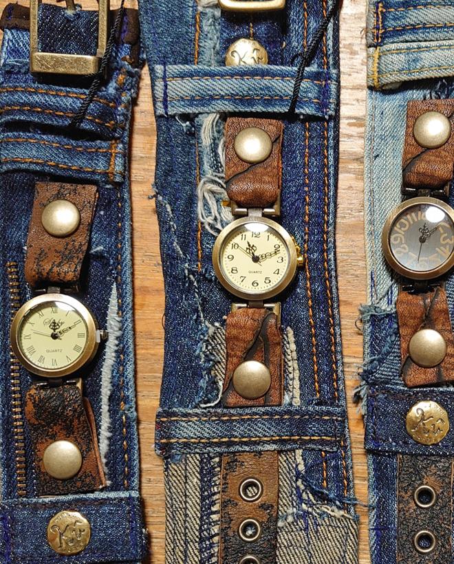 デニム✕革ベルト腕時計