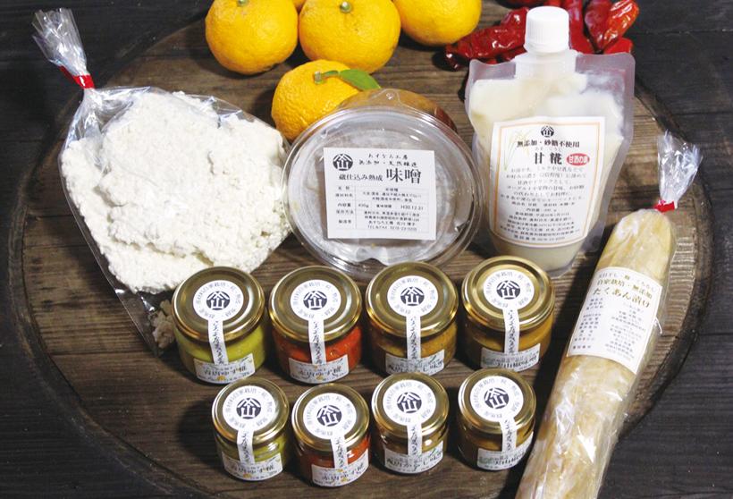 *あすなろ工房の加工品(和調味料、味噌、甘糀、漬物、米麹)